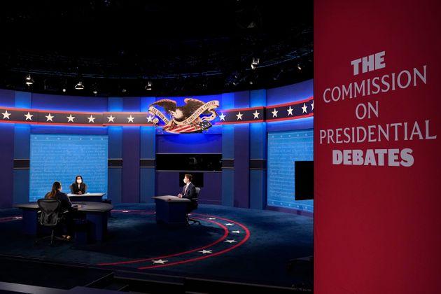 Preparations take place for the vice presidential debate in Kingsbury Hall at the University of Utah...