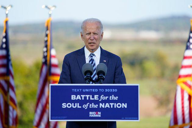 Joe Biden lors d'un discours de campagne à Gettysburg en Pennsylvanie le 6 octobre 2020 (AP Photo/Andrew