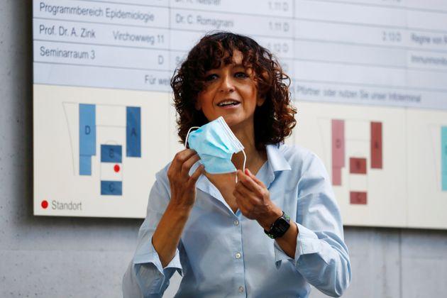 Emmanuelle Charpentier à l'Institut Max Planck de Berlin le 7 octobre 2020, jour de l'attribution...