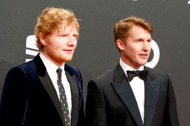 Ed Sheeran and James Blunt arrive for the Goldene Kamera on March 4, 2017 in Hamburg, Germany.