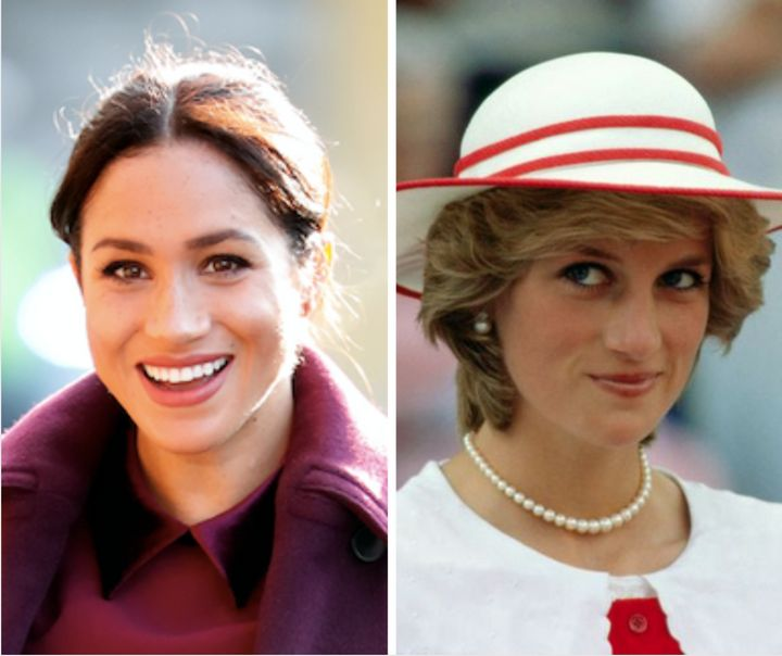 Morgan sees similarities between the Duchess of Sussex (left) and the late Princess of Wales (right).