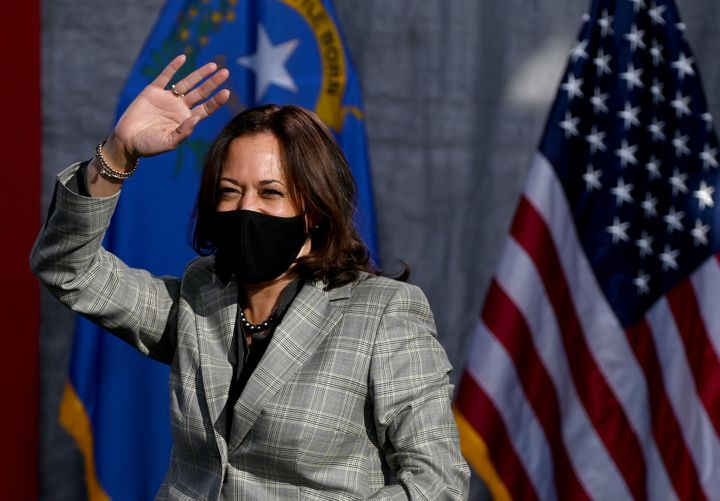 Democratic U.S. vice-presidential nominee Sen. Kamala Harris waves as she arrives at an event on Oct. 2, 2020 in Las Vegas, Nevada.