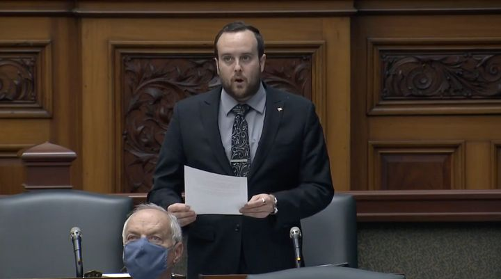 Ontario MPP Jeremy Roberts speaks in the legislature on Oct. 1, 2020.