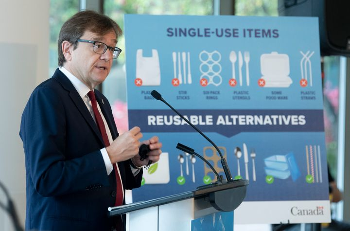 Environment and Climate Change Minister Jonathan Wilkinson speaks during a news conference announcing the ban of specific plastic products on Oct. 7, 2020 in Gatineau.