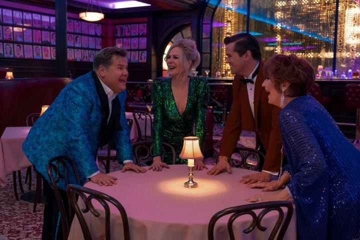 "Netflix's ""The Prom"" stars (from left) James Corden, Nicole Kidman, Andrew Rannells and Meryl Streep."