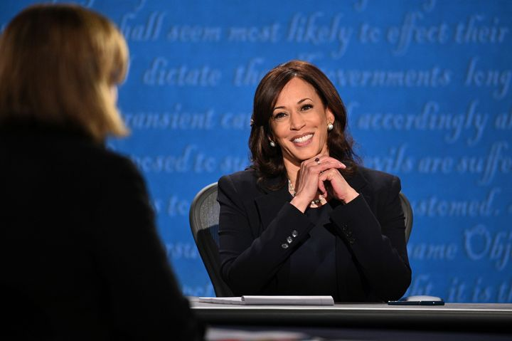 US Democratic vice presidential nominee and Senator from California, Kamala Harris smiles during the vice presidential debate in Kingsbury Hall at the University of Utah on October 7, 2020, in Salt Lake City, Utah. (Photo by Robyn Beck / AFP) (Photo by ROBYN BECK/AFP via Getty Images)