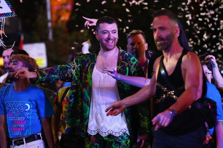Sam Smith at one of the world's last big events pre-pandemic - the 2020 Sydney Gay & Lesbian Mardi Gras Parade on February 29, 2020 in Sydney, Australia.