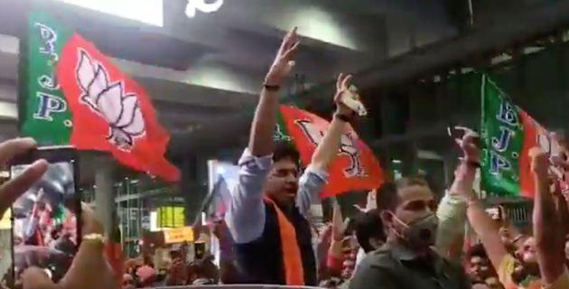 BJP MP Tejasvi Surya arrives in Kolkata on Wednesday