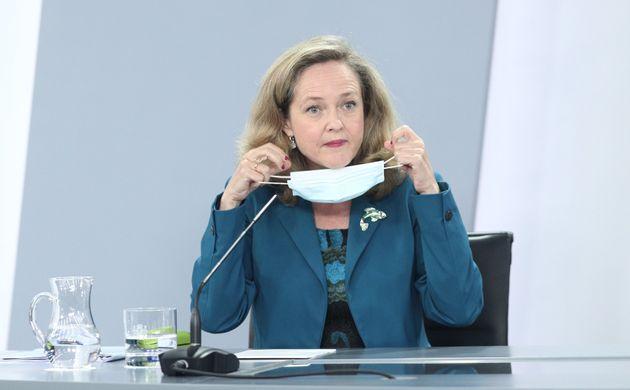 La vicepresidenta Nadia Calviño, el pasado 28 de julio, en una rueda de prensa en La