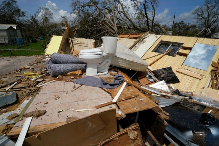 A mobile home was severely damaged in Lake Charles, La., during Hurricane Laura last August.