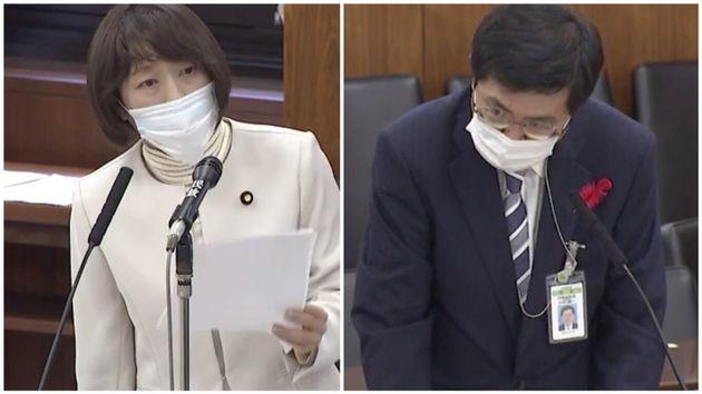 日本共産党の田村智子議員(左)と、内閣法制局の木村陽一第1部長(参議院のインターネット国会中継より)