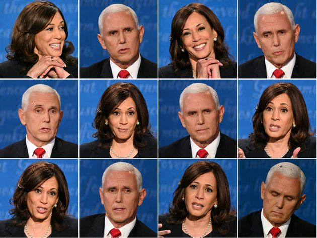 TOPSHOT - (COMBO) This combination of pictures created on October 07, 2020 shows US Democratic vice presidential...