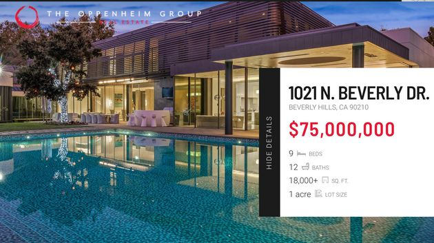 Davina's $75m listing is still on the Oppenheim Group's website