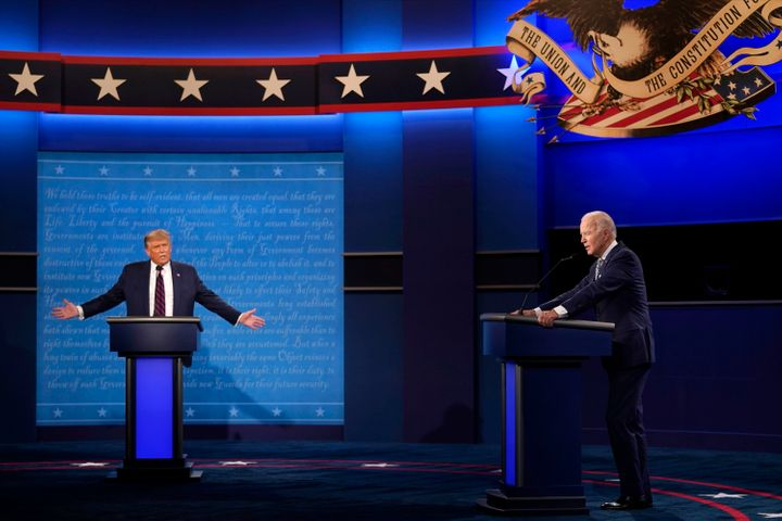 President Donald Trump and former Vice President Joe Biden at the presidential debate on Sept. 29. Trump has said he won't pa
