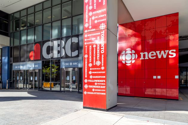 The entrance to the Canadian Broadcasting Centre, headquarters of the CBC, on May 16, 2020. CBC...