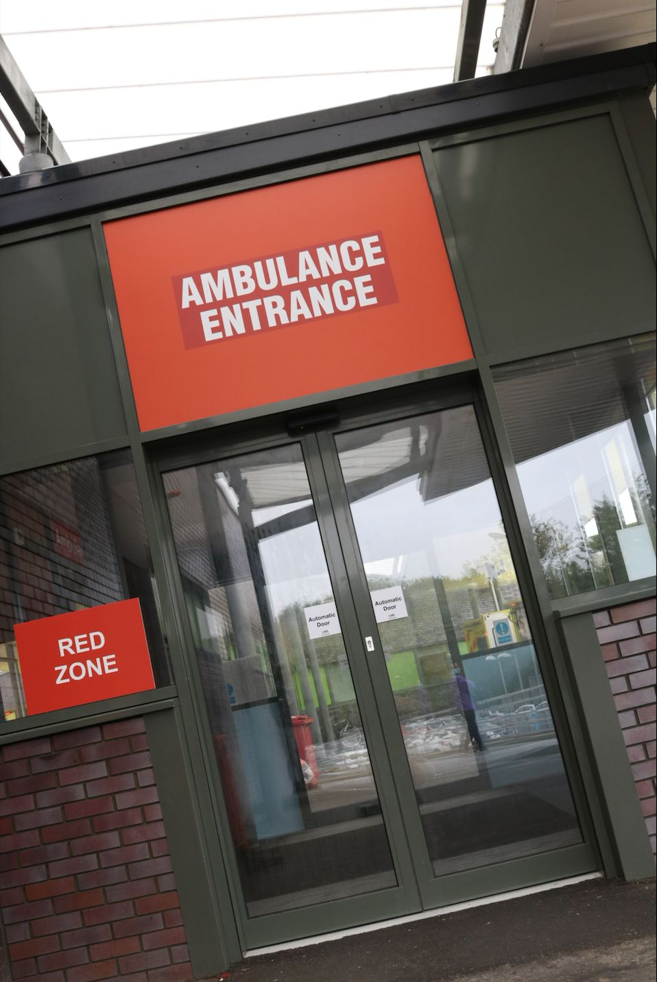 Entrance to the 'red' A&E which is for patients with suspected Covid-19