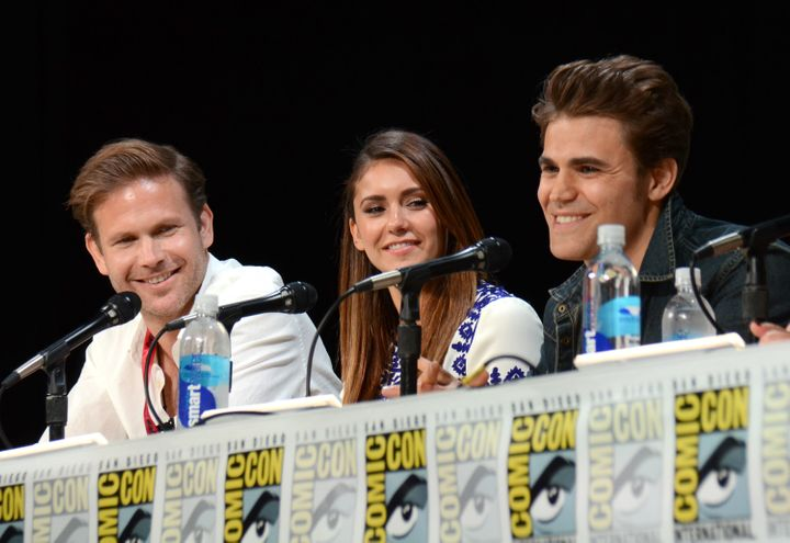 "Matthew Davis and Paul Wesley on a ""Vampire Diaries"" panel with Nina Dobrev at Comic-Con in 2014."