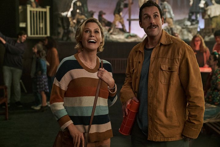 "Julie Bowen and Adam Sandler in ""Hubie Halloween"" on Netflix."
