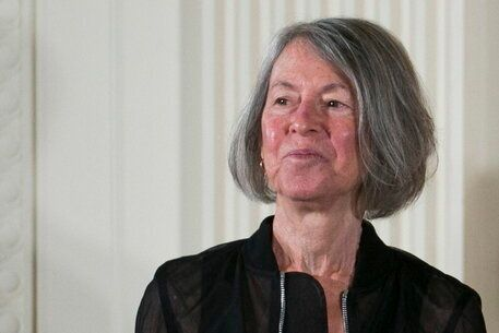 epa08728920 (FILE) - US poet Louise Gluck with the 2015 National Humanities Medal during a ceremony in...