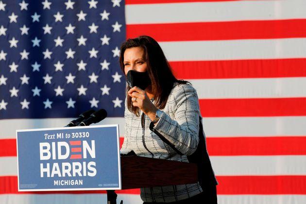 Michigan Gov. Gretchen Whitmer introduces Democratic vice presidential nominee Sen. Kamala Harris in...