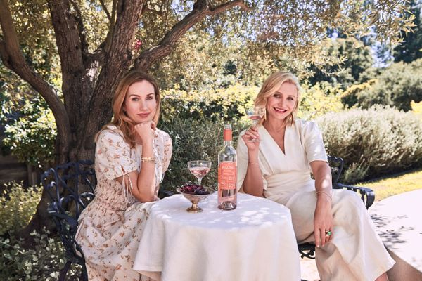 "Cameron Diaz's newest project is <a href=""https://drinkavaline.com/products/rose-wine"" target=""_blank"">Avaline, a vegan-frien"