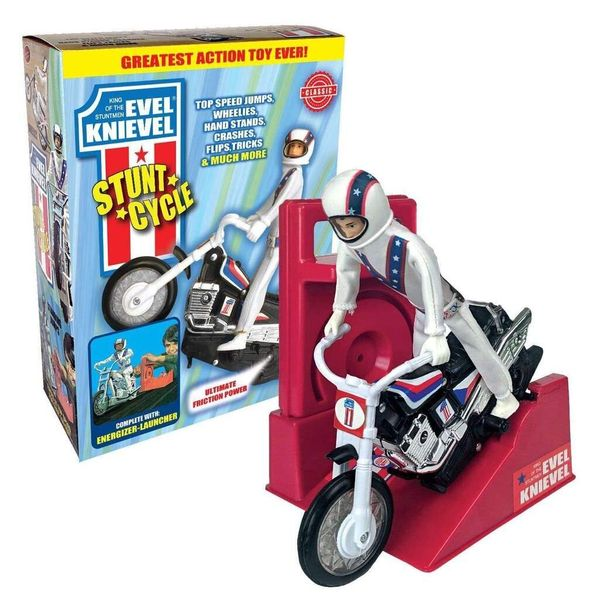 """For people who grew up in the mid-1970s, the<a href=""""http://www.EvelKnievelToys.com"""" target=""""_blank""""> Evel Knievel cycle</a>"""