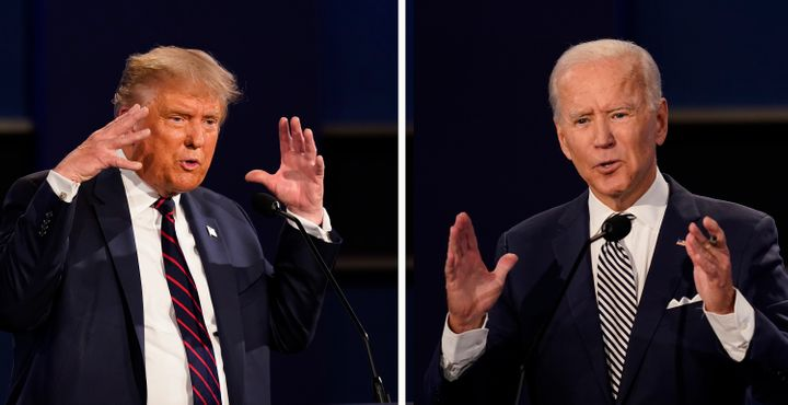 This combination of Sept. 29, 2020, file photos shows U.S. President Donald Trump, left, and former Vice President Joe Biden during the first presidential debate at Case Western University and Cleveland Clinic, in Cleveland, Ohio.