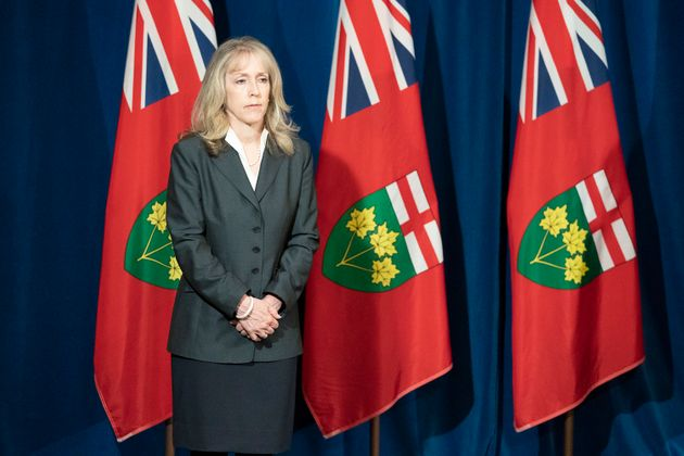 Ontario Minister of Long Term Care Merrilee Fullerton listens to questions during the daily briefing...