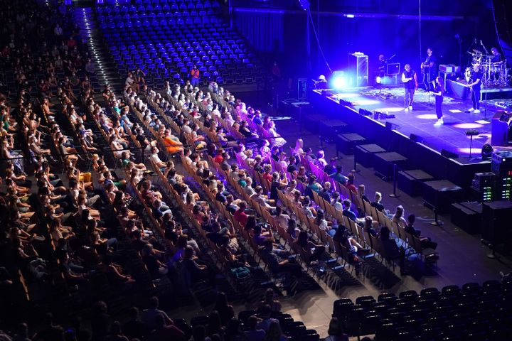 Participants in the German concert study watched singer Tim Bendzko perform at an indoor arena in Leipzig on Aug. 22.