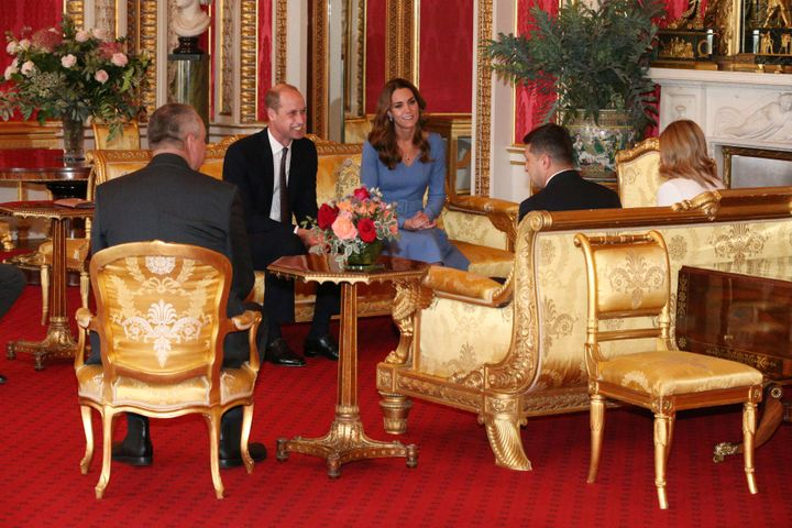 Prince William, Duke of Cambridge and his wife Kate, Duchess of Cambridge talk with Ukraine's President Volodymyr Zelensky and his wife Olena during an audience at Buckingham Palace on Wednesday.