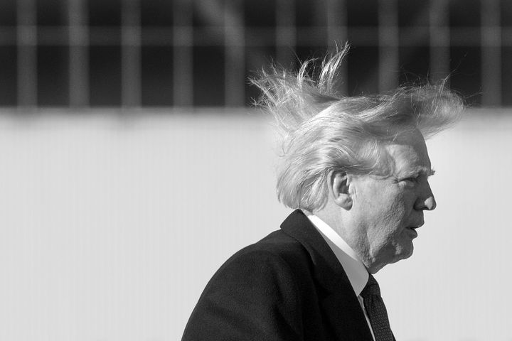 Donald Trump's hair blows in the wind as he boards Air Force One in 2017.