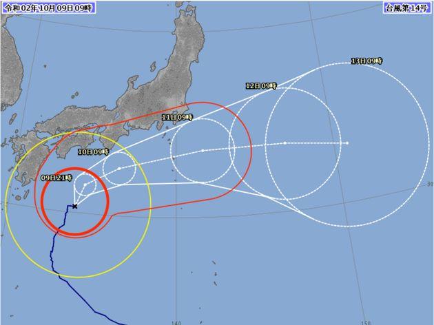 台風14号の進路予想