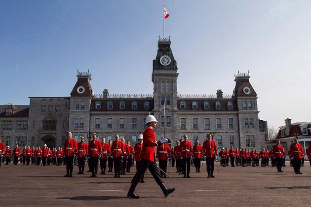 Members of the graduation class of Royal Military College of Canada parade during a graduating ceremony...