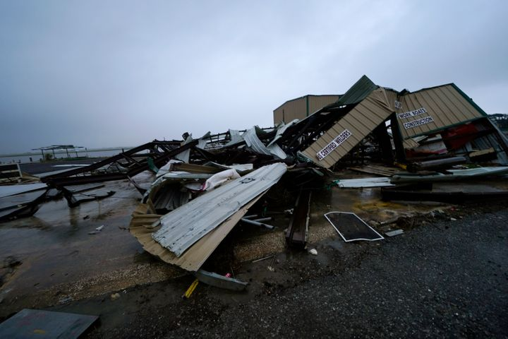 A business destroyed from Hurricane Laura lies in pieces, Thursday, Oct. 8, 2020, in Cameron, La., in advance of Hurricane De
