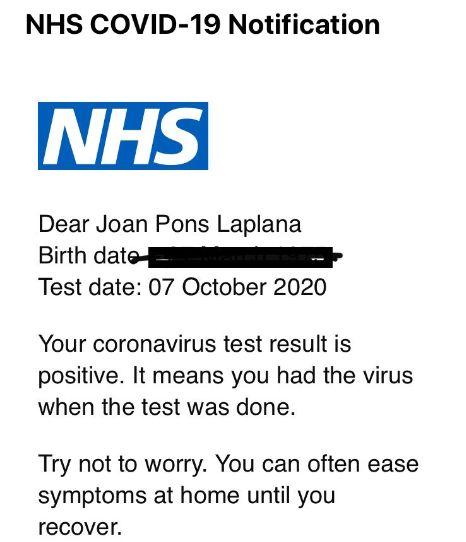 La notificación que recibió Joan