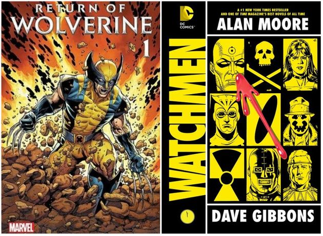 左がウルヴァリン、右がウォッチメンのコミック。(The Return Of Wolverine と、Watchmen: International