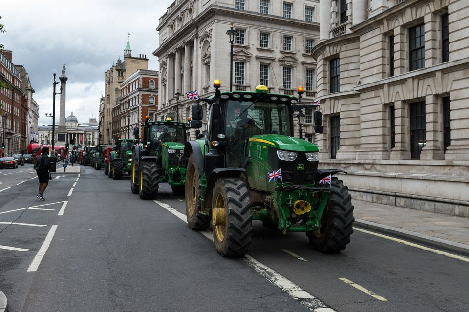 Farmers from across the country drive tractors, trucks and cars across central London in a protest against the Agriculture Bill on July 8, 2020.