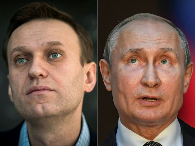 (COMBO) This combination of pictures created on October 1, 2020 shows Russian opposition leader Alexei...