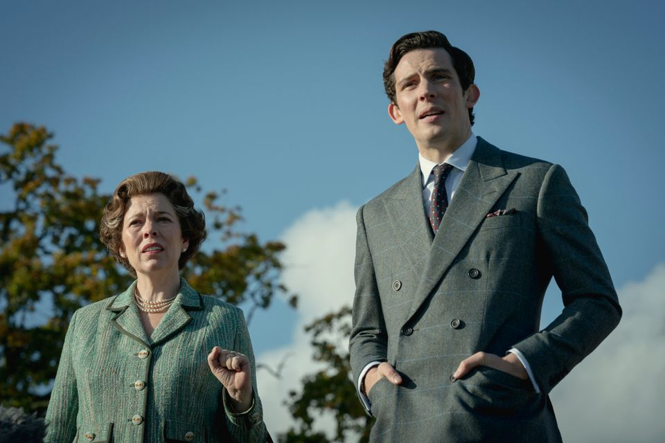Josh O'Connor with his on-screen mum (who just happens to be Queen Elizabeth II, played by Olivia Colman)