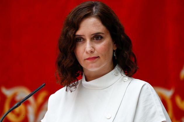 La presidenta de la Comunidad de Madrid, Isabel Díaz Ayuso, en la presentación del plan...