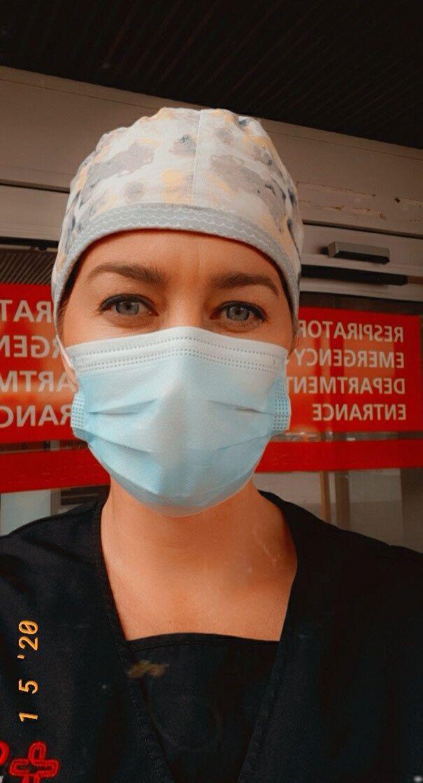 Jolene Miller in her scrubs whilst working as a paramedic at Darlington Memorial