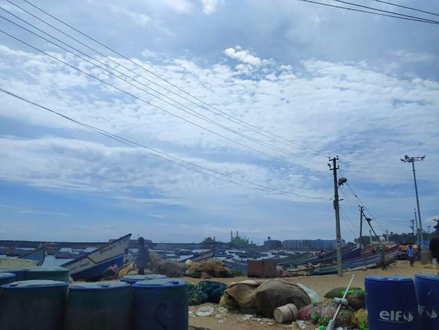 A view of the fishing harbour in Vizhinjam which is a stone's throw away from the Adani