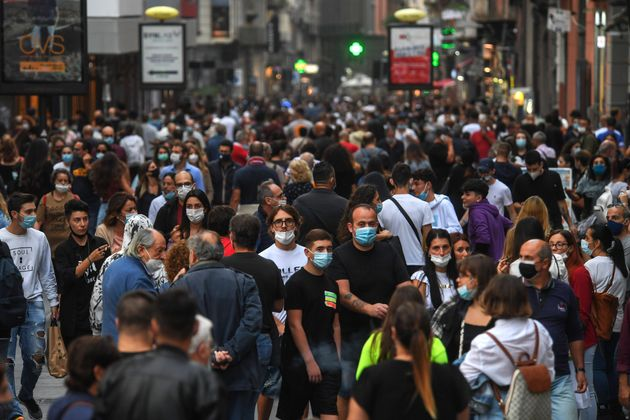 NAPLES, CAMPANIA, ITALY - 2020/10/03: People wear face masks after the southern Italian region of Campania...