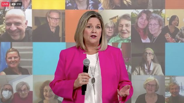 Ontario NDP Leader Andrea Horwath announces her party's plan for long-term care on Facebook Live Oct....