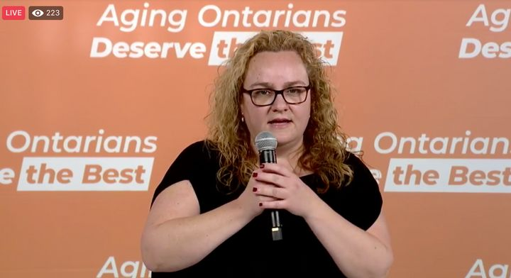 Cathy Parkes, whose father died after contracting COVID-19 at a Pickering, Ont. nursing home, speaks at an event with the Ontario NDP Oct. 9, 2020.