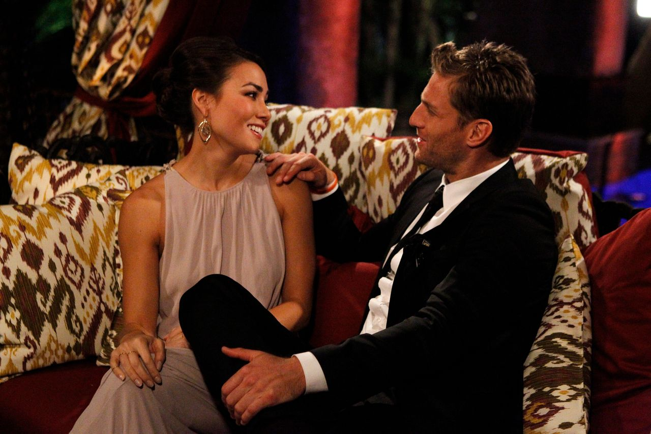 """Juan Pablo Galavis, the Bachelor franchise's first Latino Bachelor, with contestant Sharleen Joynt on the 18th season of """"The Bachelor,"""" which aired in 2014."""