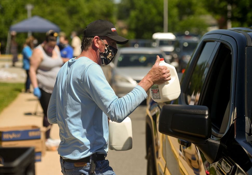 Food banks, such as the one pictured here in Cumru, Pennsylvania, have experienced unprecedented demand since the start of th
