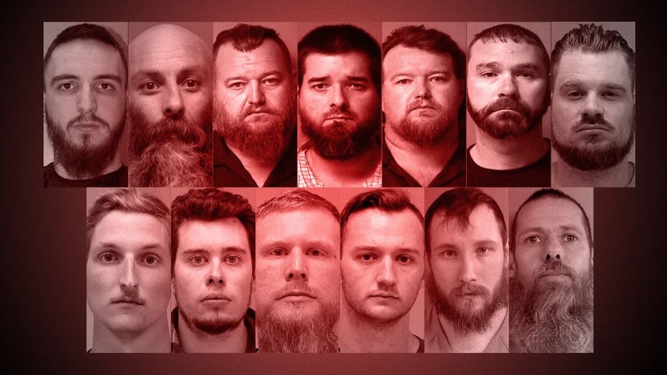 Mugshots of the 13 men belonging to paramilitary groups who were arrested last week related to a plot...