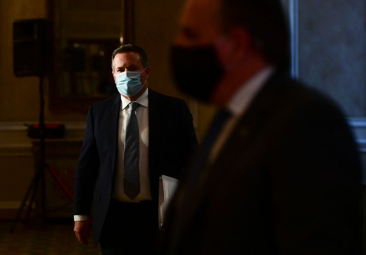 Alberta Premier Jason Kenney leaves a press conference in Ottawa on Sept. 18, 2020.