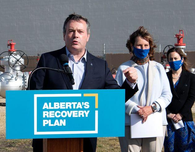 Alberta Premier Jason Kenney speaks in Edmonton on Oct. 6,